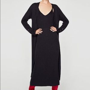 NWT Zara Cashmere Silk Blend Knit Midi Tank Dress